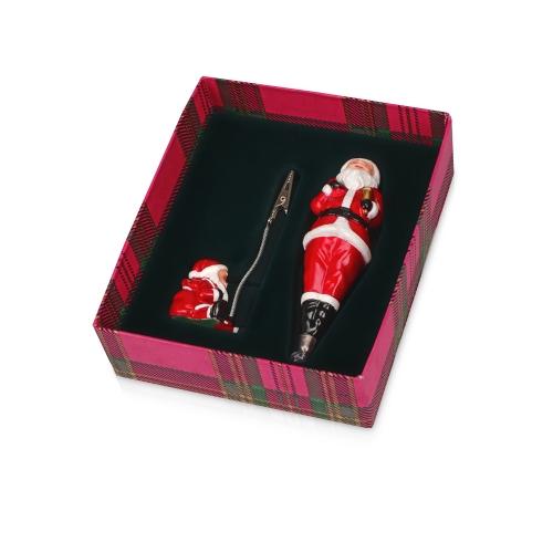 Набор «Дед Мороз»: ручка шариковая, держатель для документов