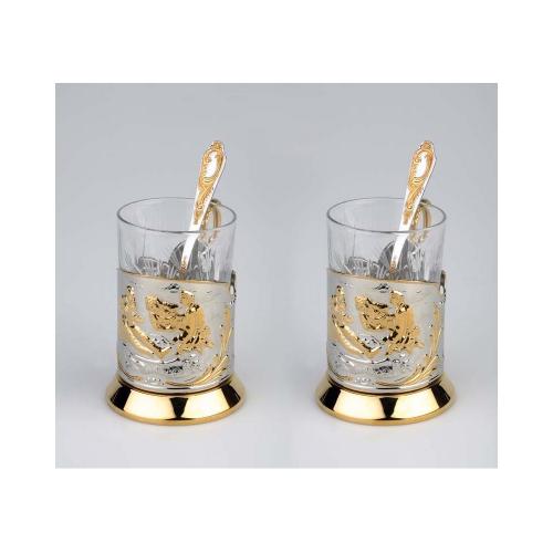 Набор «Охотники на привале»: 2 стакана с подстаканниками