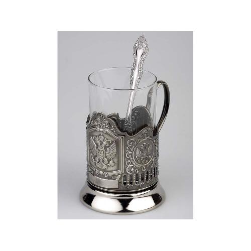 Набор «Герб России»: стакан с подстаканником и ложкой