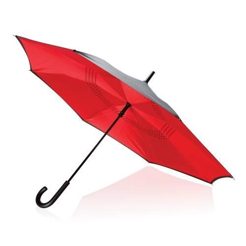 """Механический двусторонний зонт 23"""", красный"""