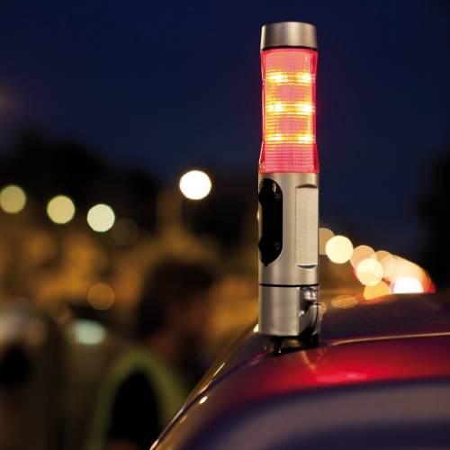 Автомобильный мультитул: аварийный сигнал, фонарь, молоток для стекла и нож для ремня безопасности