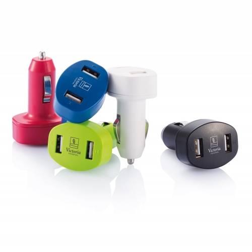 Зарядное устройство для автомобиля с 2 USB-портами, черный