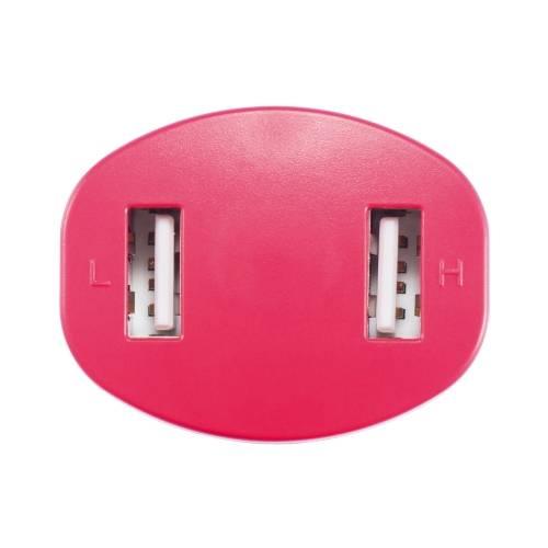 Зарядное устройство для автомобиля с 2 USB-портами, красный