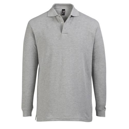 Рубашка поло мужская с длинным рукавом STAR 170, серый меланж