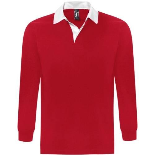 Рубашка поло мужская с длинным рукавом PACK 280 красная