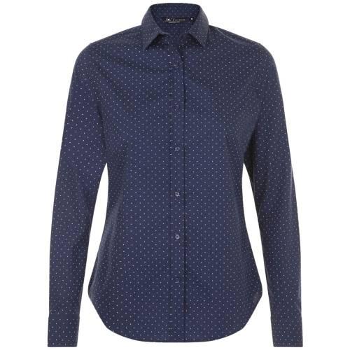 Рубашка женская BECKER WOMEN, темно-синяя с белым