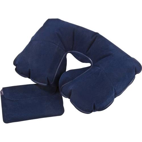 Надувная подушка под шею в чехле Sleep, темно-синяя