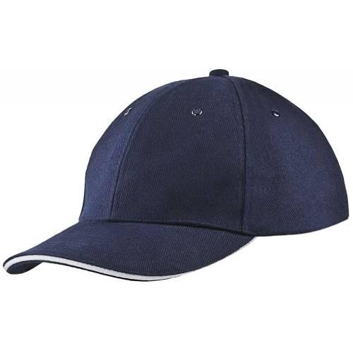 Бейсболка Unit Generic, темно-синяя с белым кантом
