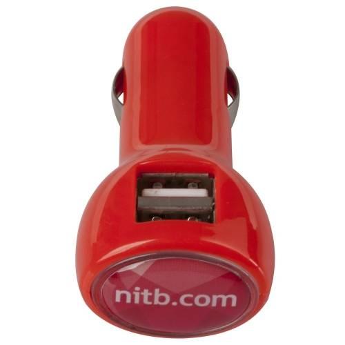 Автомобильное зарядное устройство с подсветкой Logocharger, красное