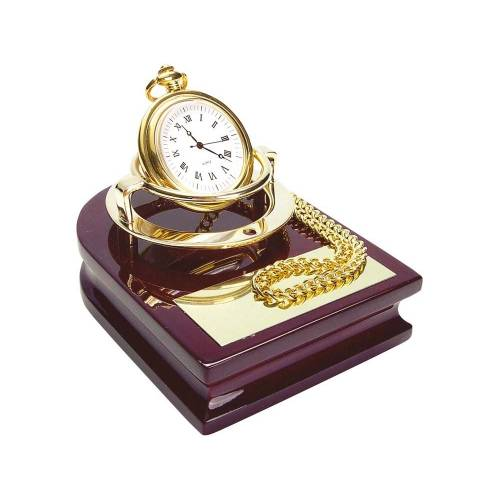 Часы «Магистр» с цепочкой на деревянной подставке