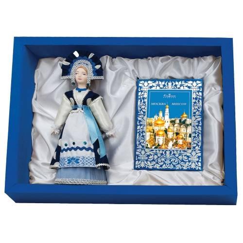 Подарочный набор «Гжельские мотивы»: кукла декоративная, шоколадные конфеты «Конфаэль»