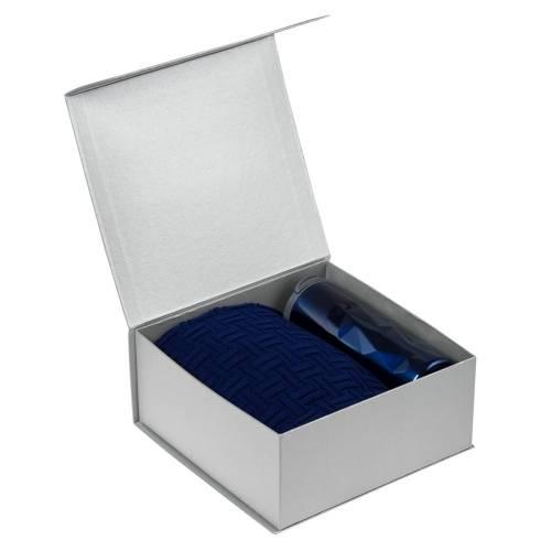Набор Cozy Evening: плед и термостакан, серебристо-синий