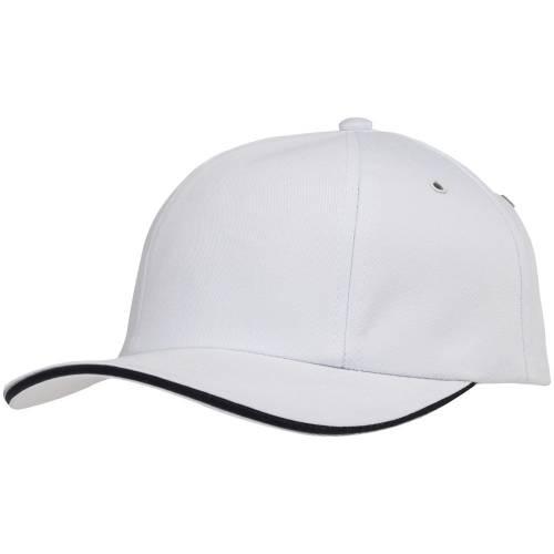 Бейсболка Bizbolka Canopy, белая с темно-синим кантом